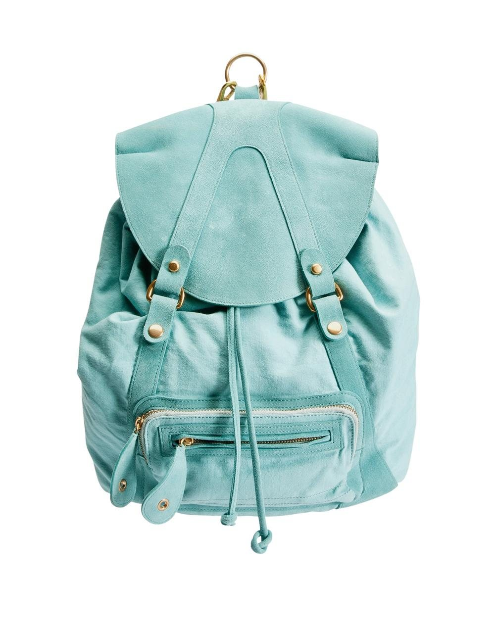ash BETTY CALFSUEDE W.CANVAS TURQUOISE. Mochila