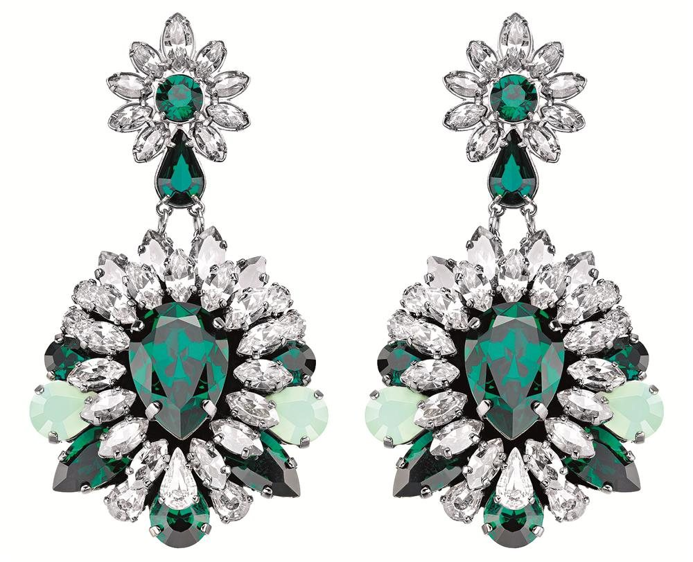 Swarovski by Shourouk Pierced Earrings green. Invitada de Honor