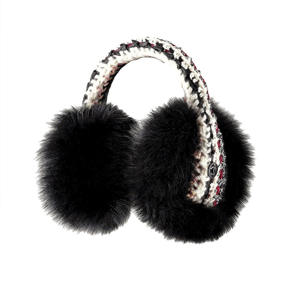 A72520 black and white fur and knitwear earmufmaille. En la maleta