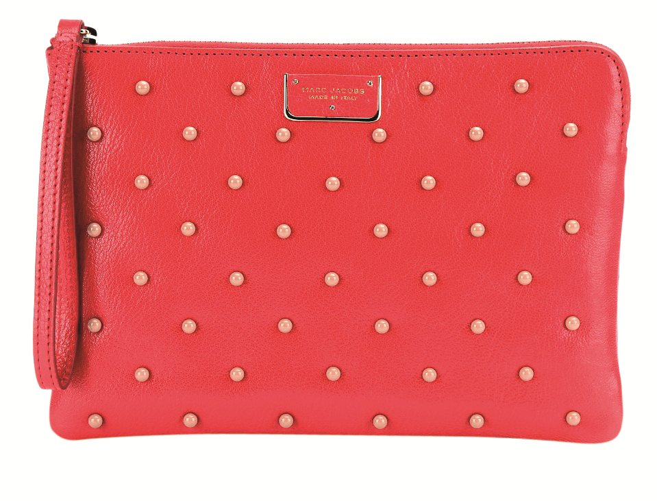 P00082322-Beaded-leather-clutch--STANDARD. Polka dots