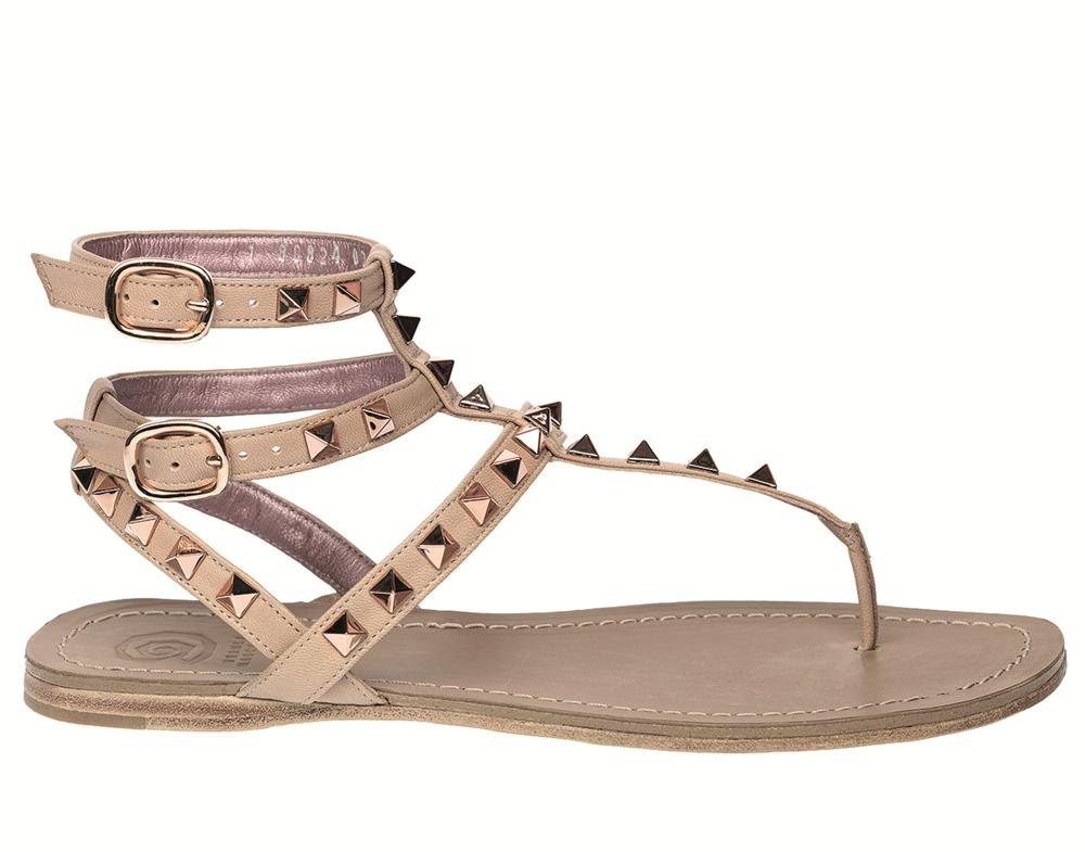 Abigail nude studded toe post ankle strap - side PVP 289 (1). Tardes de terraza