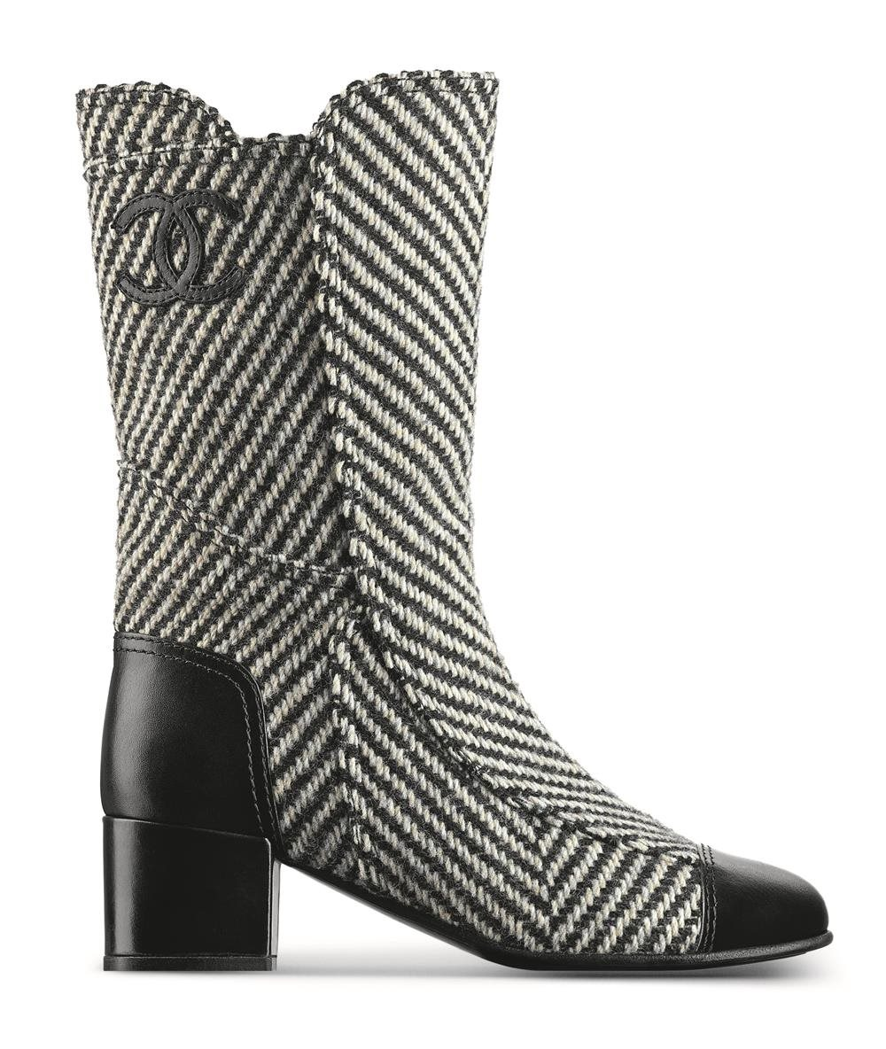 G31207-Y15948-C8280-Black and white tweed and leather boot Botte noire et blanche en tweed et cuir. Botas