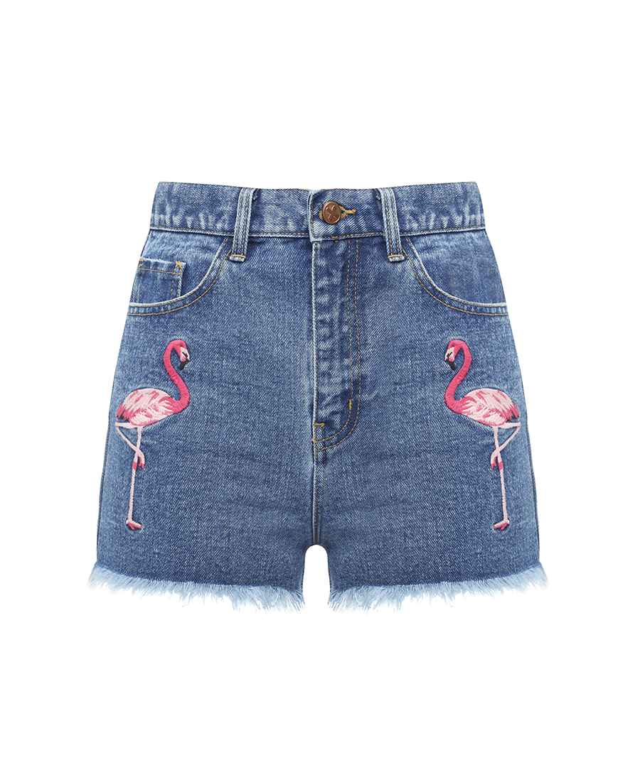Flamingo Shorts E17 $17 £ 13. Shorts con flamencos bordados