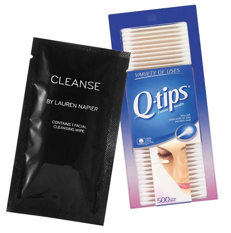 9. Bastoncillos de algodón y toallitas faciales