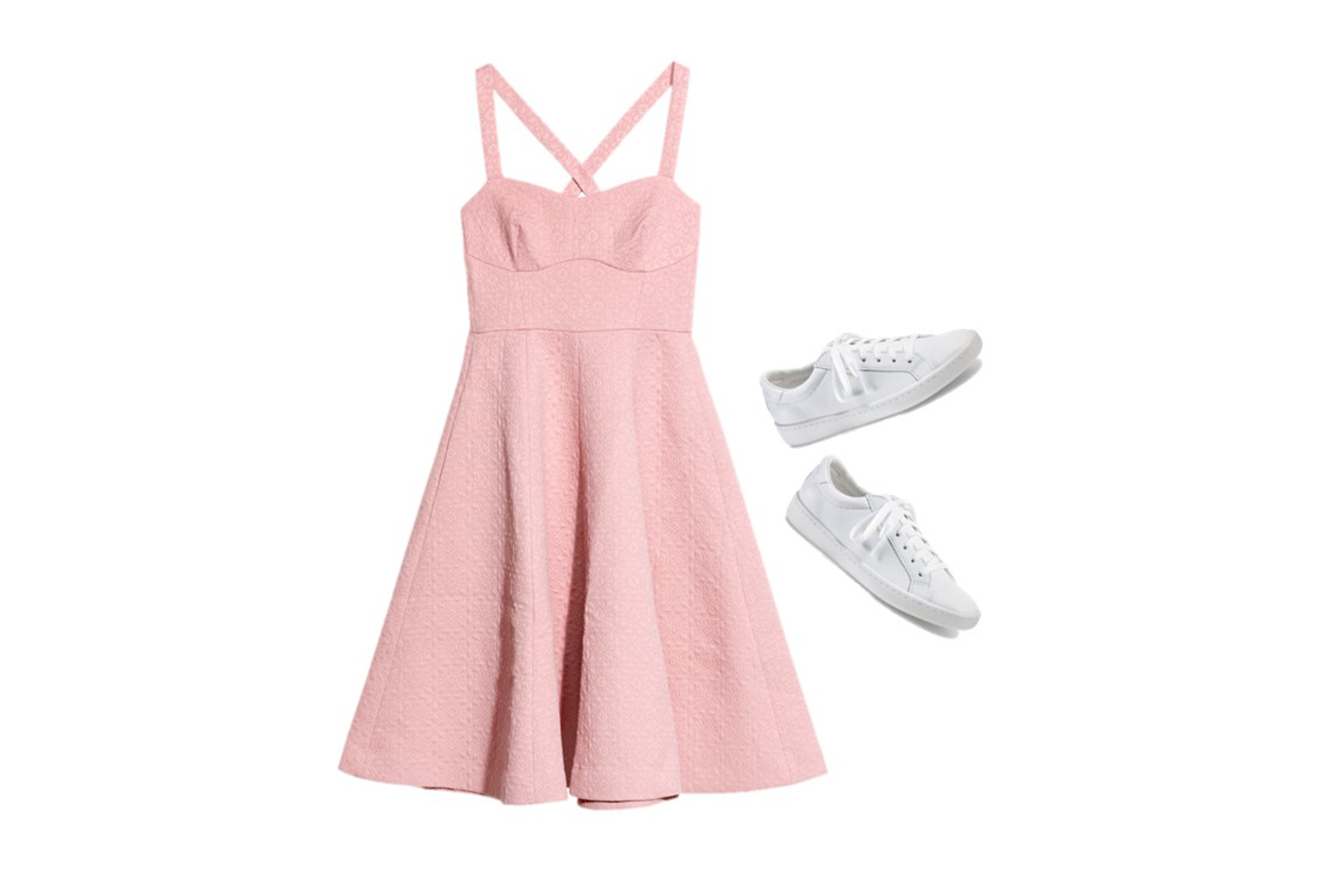 1-keds-and-other-stories-vestido-pastel-zapatillas. Vestido rosa + zapatillas