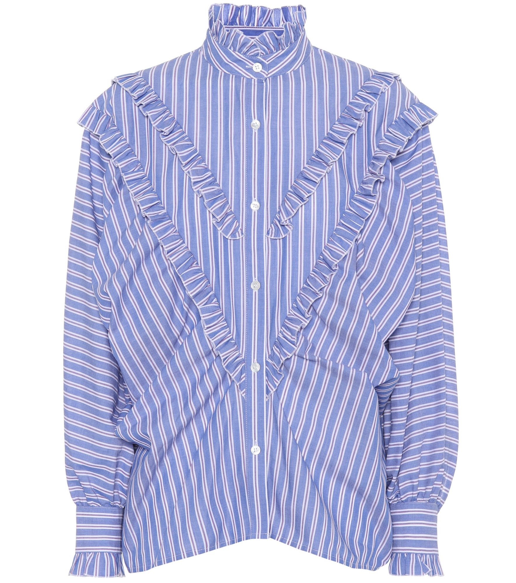 chung al rayas camisa volantes azul de Camisa mujer alexa 7HvfTqf