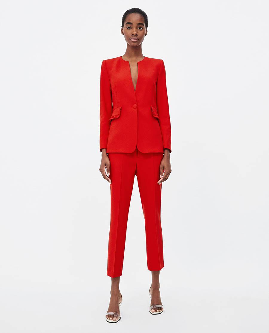 al por mayor diferentemente brillante en brillo Traje chaqueta de mujer rojo: un básico primaveral de ...