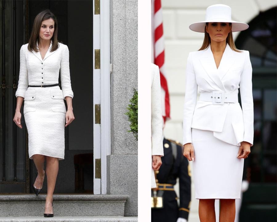 be22a7fad letizia-melania-traje-blanco. Letizia y Melania