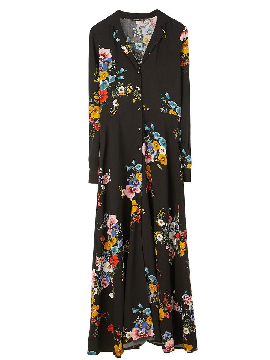 Vestido flores manga larga stradivarius