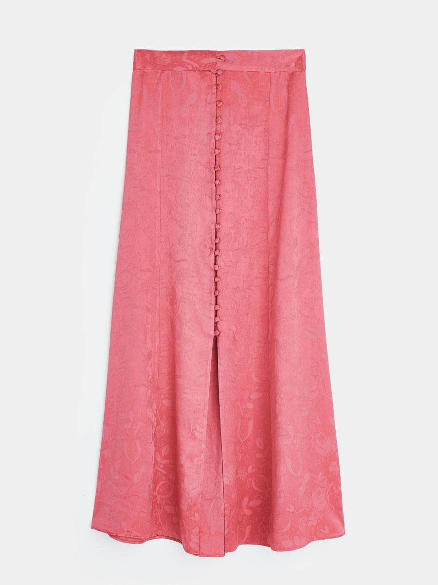 7888de5aaa Falda rosa salmón larga de Uterqüe. Faldas largas para bodas