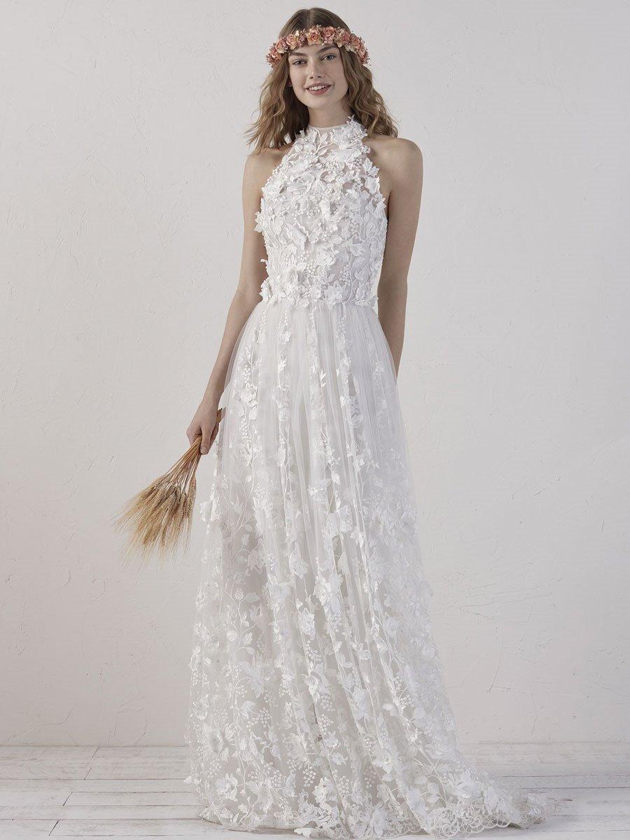 Resultado de imagen de novias con vestidos flores