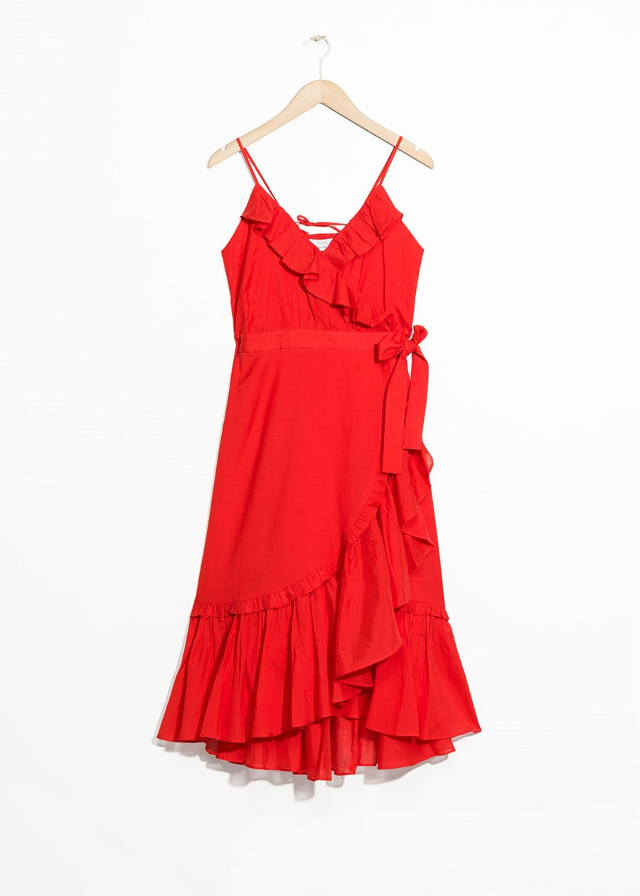 caadef16ec64d vestido rojo otoño 2018   Other Stories. El vestido rojo cruzado