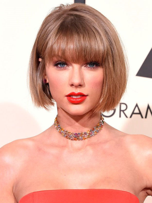 flequillo-taylor-swift-cara. Taylor Swift: cara redonda