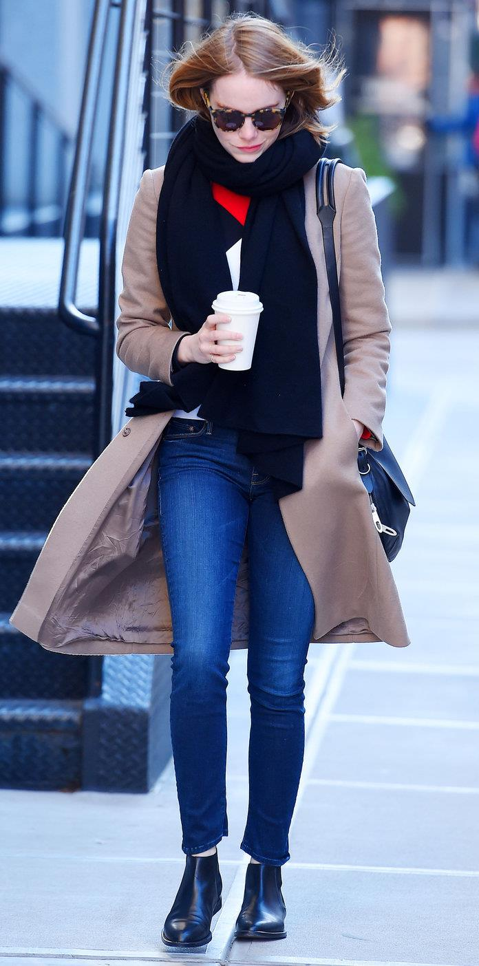 Emma Stone.  Emma Stone with black ankle boots