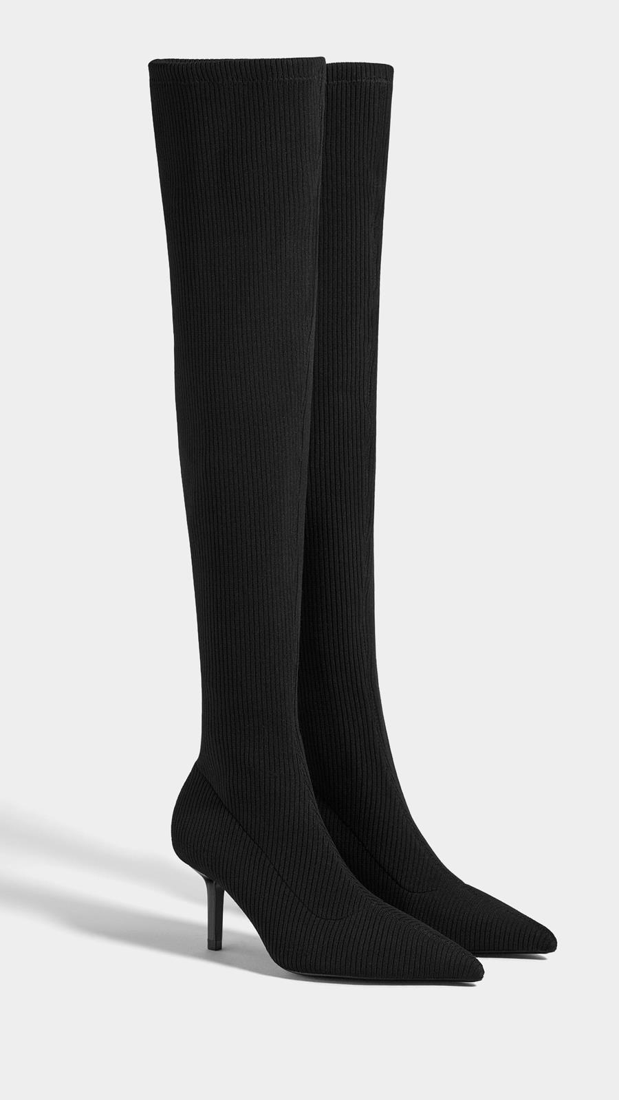 6bfa023e4 Botas de tacón fino con caña tipo calcetín de Bershka (39