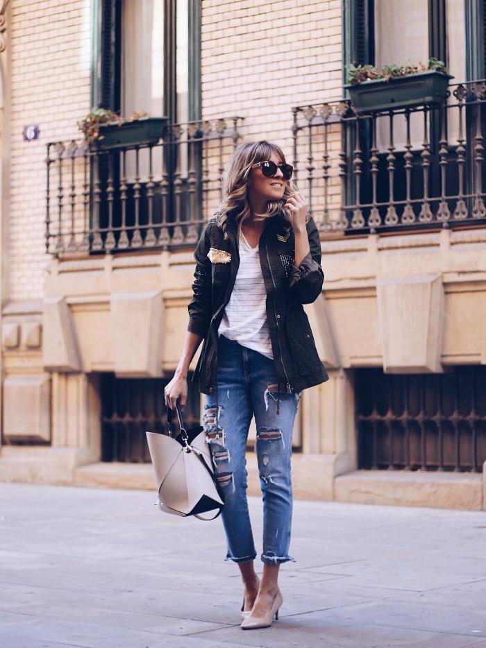 Outfit con combina camiseta de el corte ingles con bolso