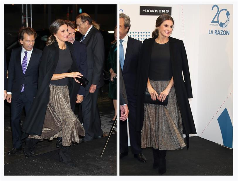 8c41c1ef4 Letizia Ortiz con falda plisada barata de Zara - InStyle