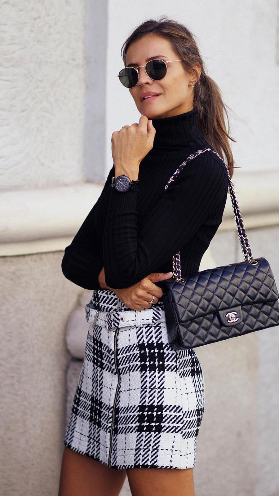 10 maneras de usar una falda de cuero cuando hace frío AF