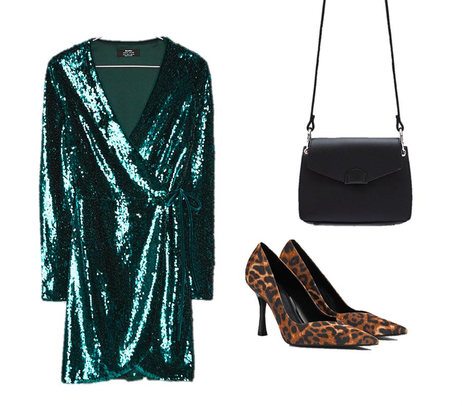 Combinar vestido verde con zapatos y bolso