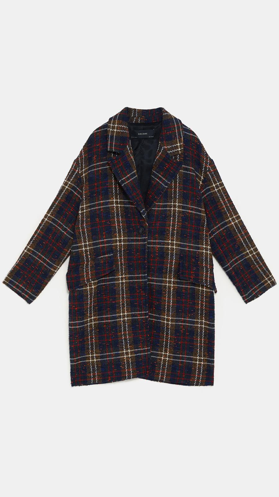 Abrigo de cuadros multicolor de Zara Con solapa y manga larga (79 723ad1609e36