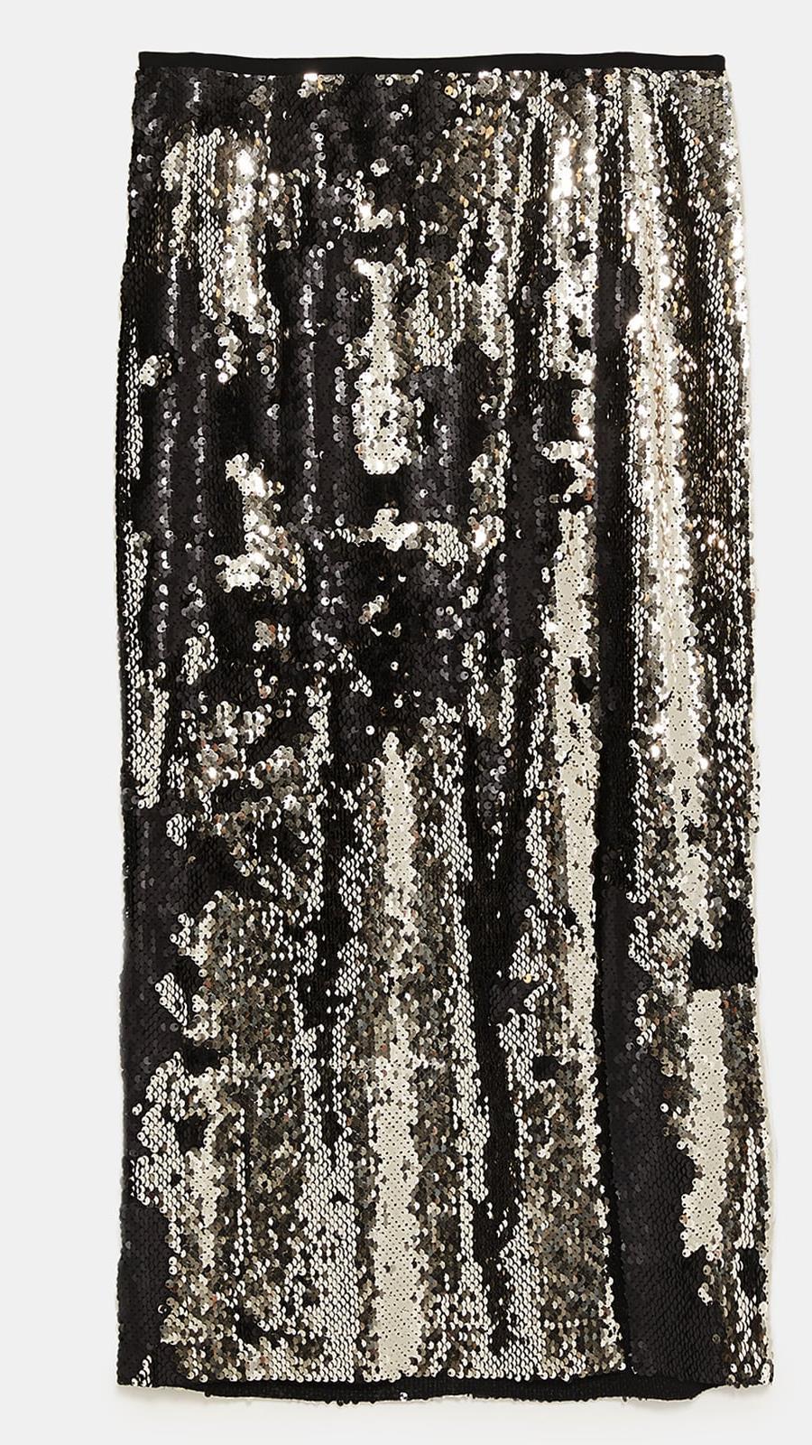 Falda de lentejuelas de Zara Con abertura frontal (39 432cb839cc70