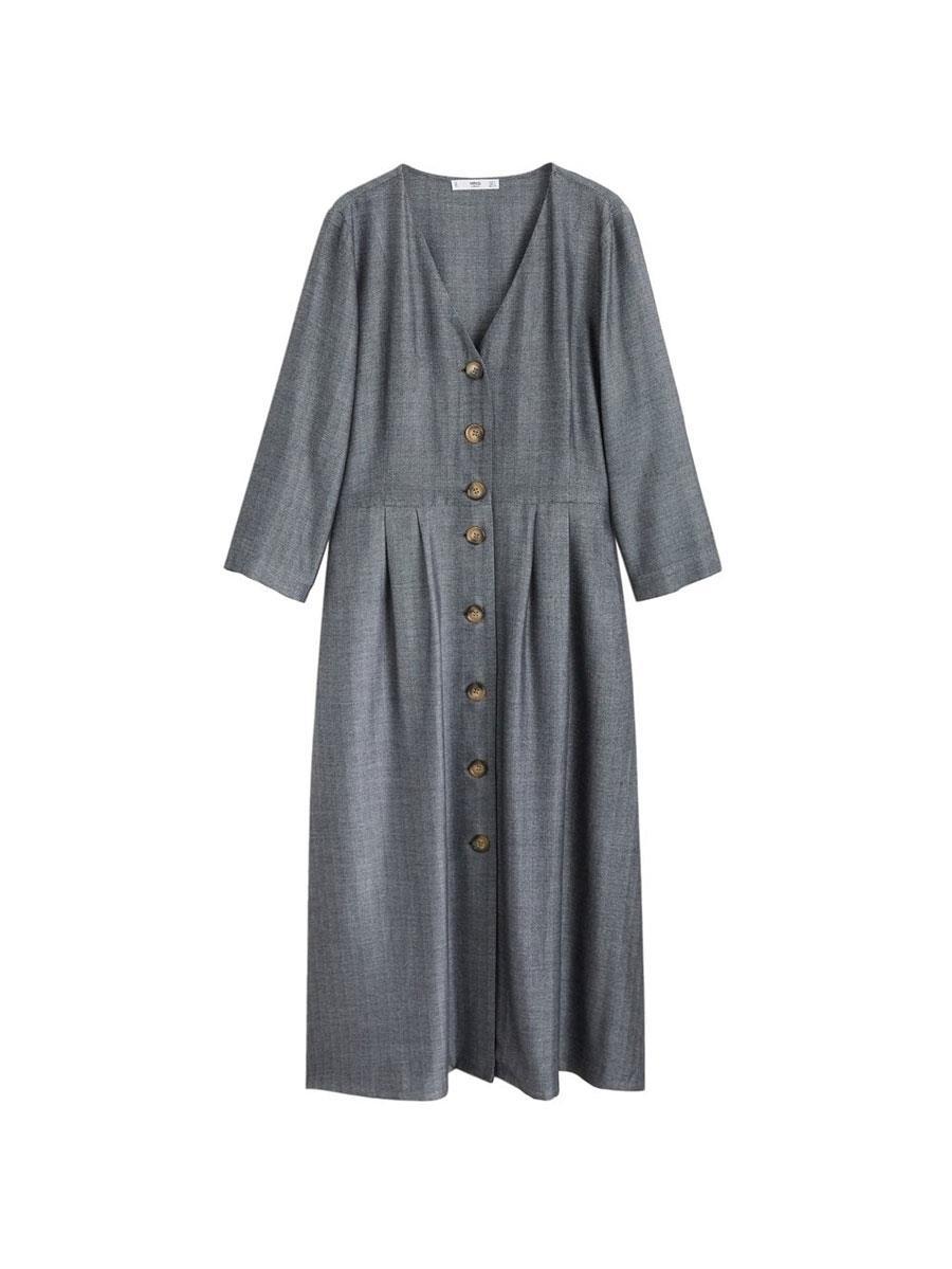 b79606d545 vestido-fluido-botones-mango. La opción más versátil