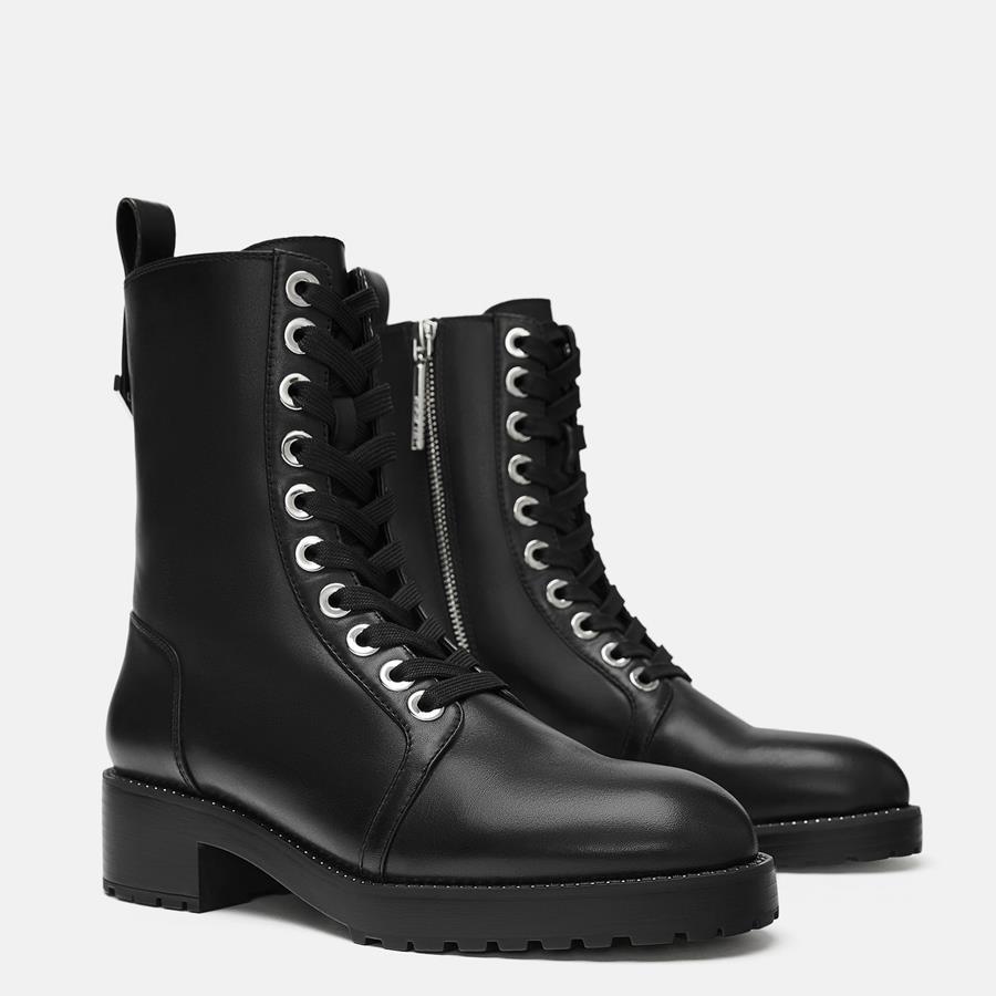 zara botas botas militares negras militares mujer negras gyf6bv7IY