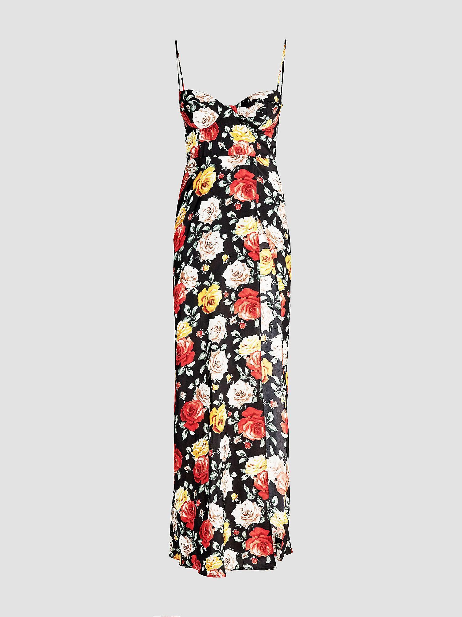 c706bcc5c Vestido de flores con abertura en la falda. Vestido de flores con abertura