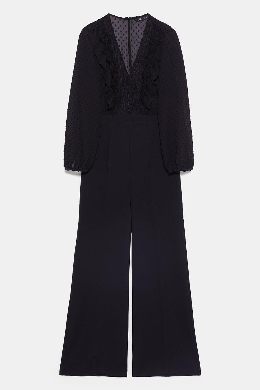 Vestido negro fluido zara