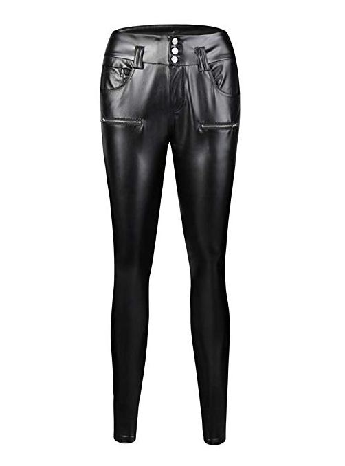 2bc3108b134 pantalones-negros-cuero-amazon. Pantalones de cuero negros efecto vinilo