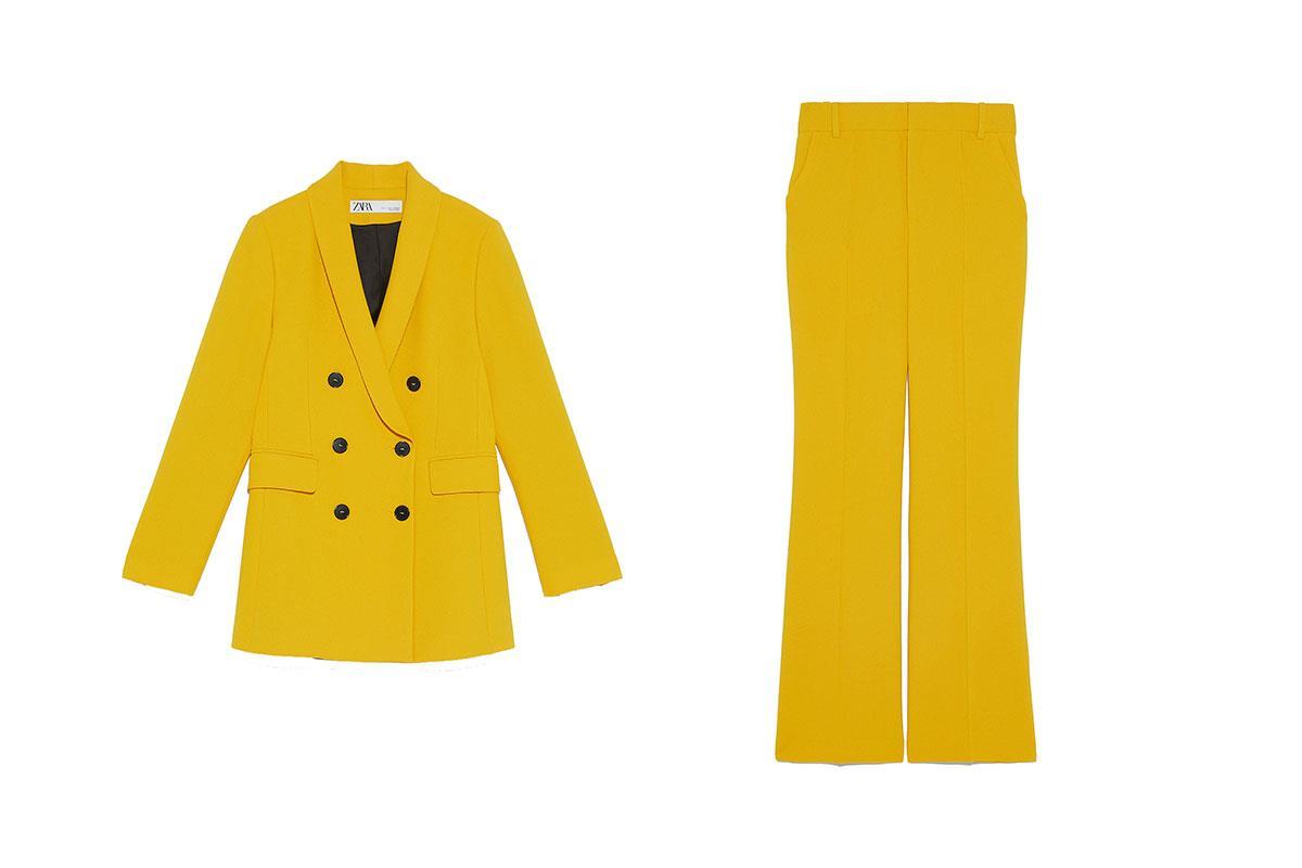 traje de chaqueta amarillo de zara