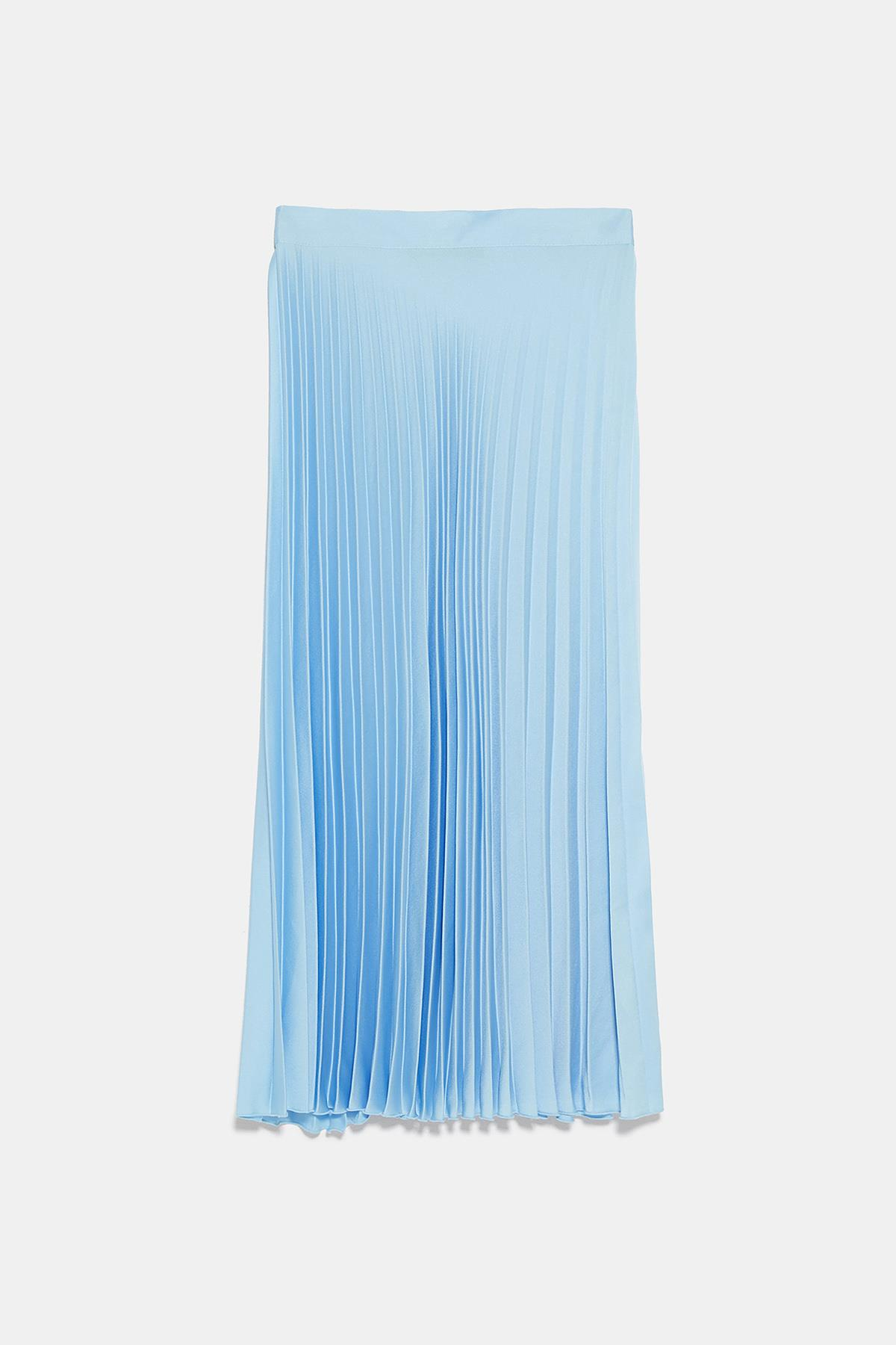 27a585da6 zara-falda-plisada-celeste. Falda plisada azul pastel
