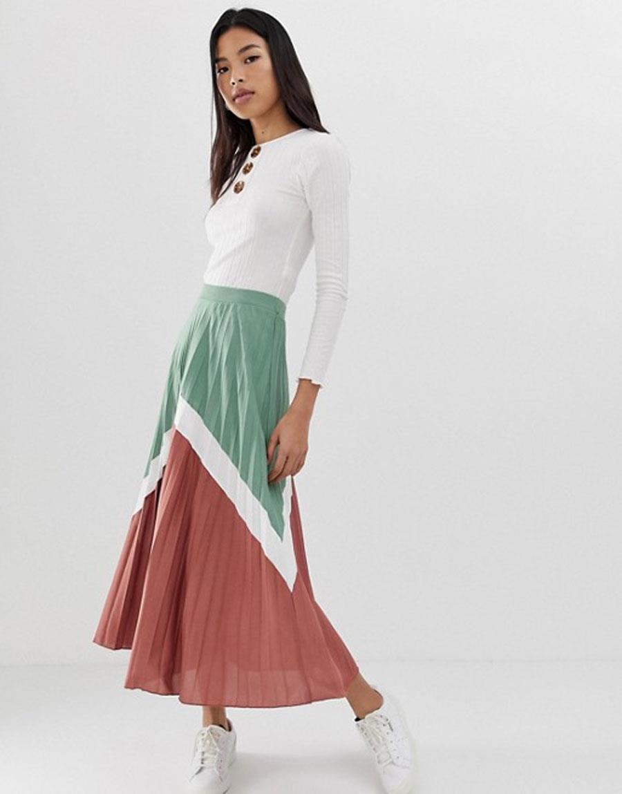 e3d8f6e220 falda plisada primavera verano 2019 falda bicolor. Falda plisada  colour  block
