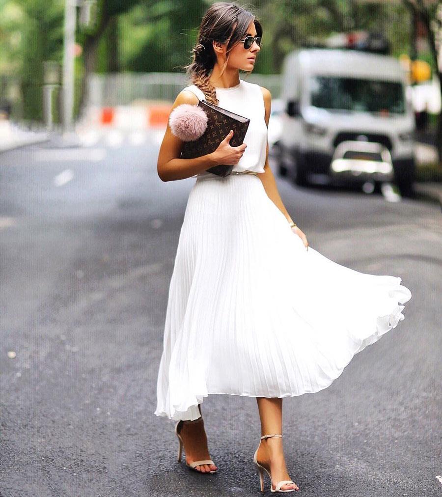 384ee4c5ed falda plisada total white. Falda plisada blanca