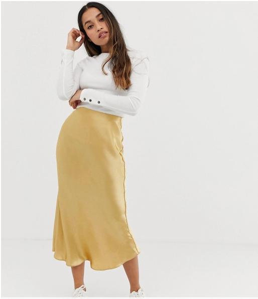 f29ac50204 FALDA-SATEN-AMARILLA-ASOS-PETITE. La falda de moda que todo