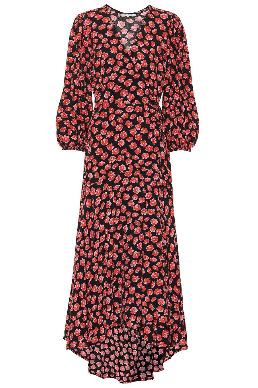 6ec46c7d9f131 vestido-flores-ganni. Vestido cruzado con micro estampado floral