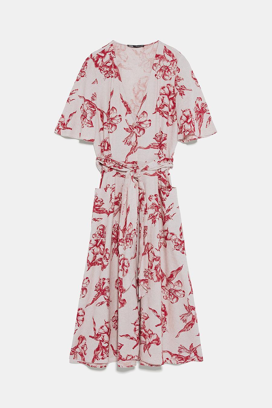 3709960169 vestido-zara-flores-cruzado. Vestido nude con estampado floral rojo y  cinturón