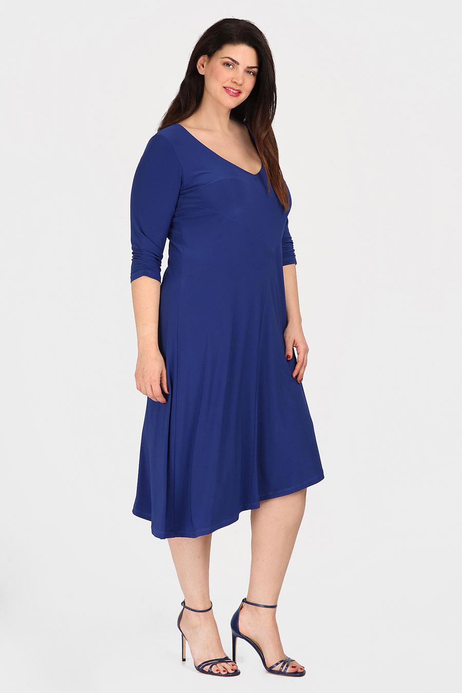 78d52711c vestidos moda primavera verano 2019 para gorditas azul. Vestido midi en  color azul marino