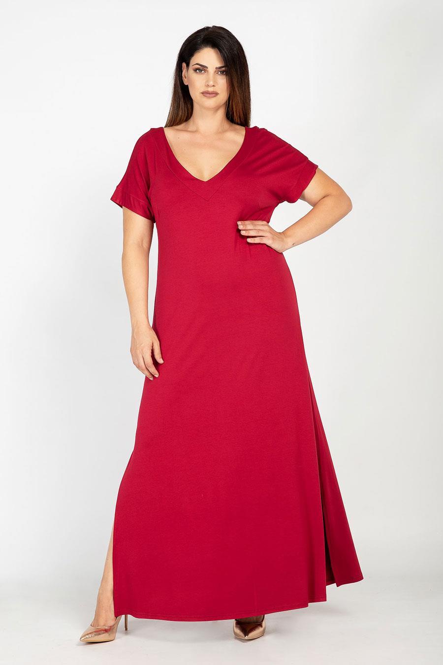 c17db57f8 vestidos moda primavera verano 2019 para gorditas maxi rojo. Vestido largo  en color rojo