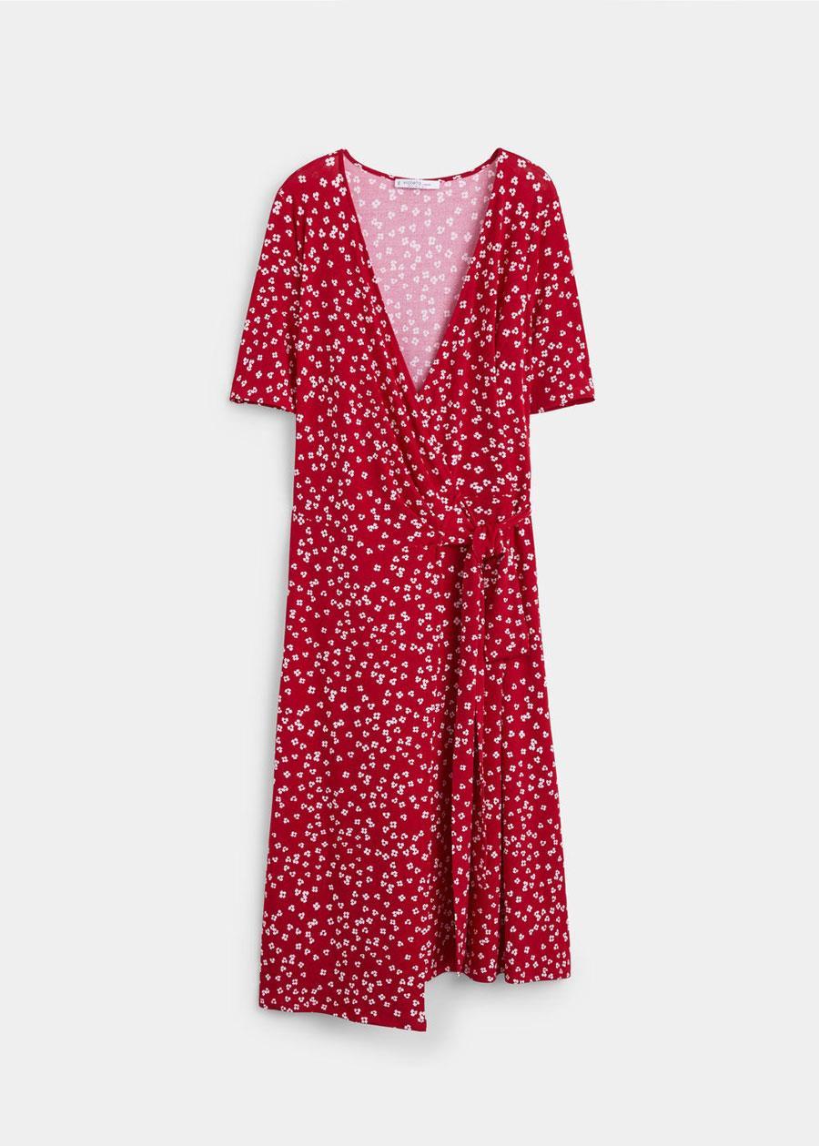 4a1a0222b vestidos moda primavera verano 2019 para gorditas rosa . Vestido cruzado  con diseño acampanado y manga