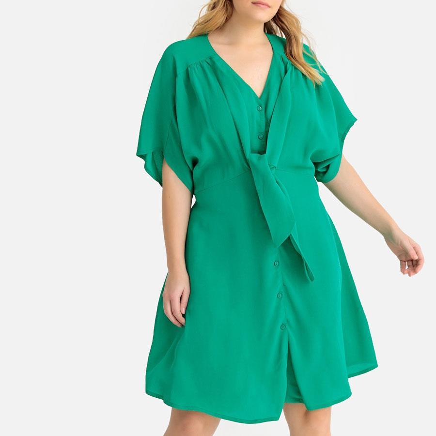 7f42f96ae vestidos moda primavera verano 2019 para gorditas verde. Vestido recto y en  color verde