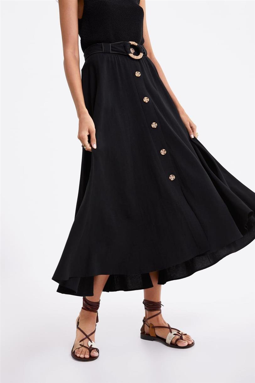 219f9777d Zara faldas midi de moda primavera verano 2019 - InStyle