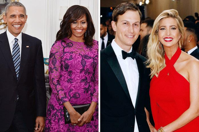 Barack Obama, Michelle Obama, Ivanka Trump y Jared Kushner