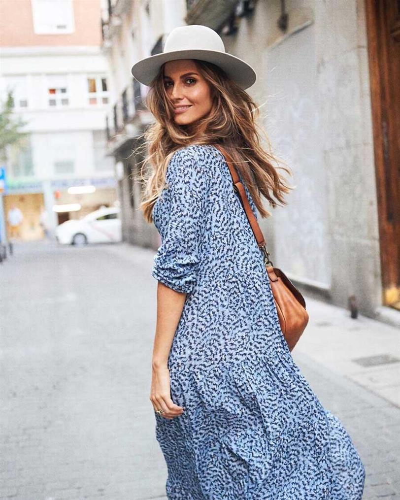 vestido largo azul zara street style