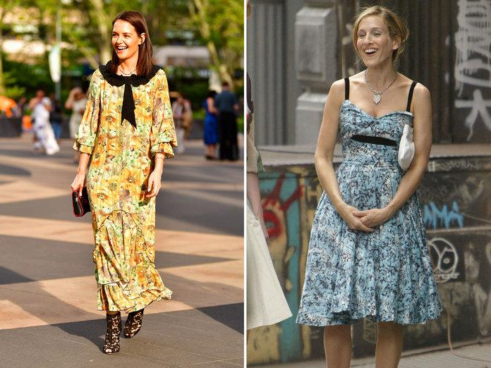 katie holmes carrie bradshaw detalle contraste JAMES DEVANEY GC IMAGES, MARK MAINZ GETTY IMAGES