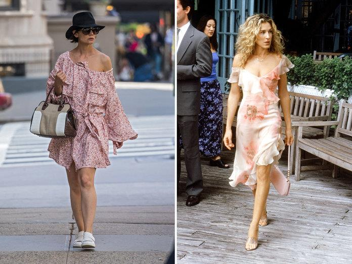 katie holmes carrie bradshaw off the shoulder ALESSIO BOTTICELLI GC IMAGES, HBO EVERETT COLLECTION