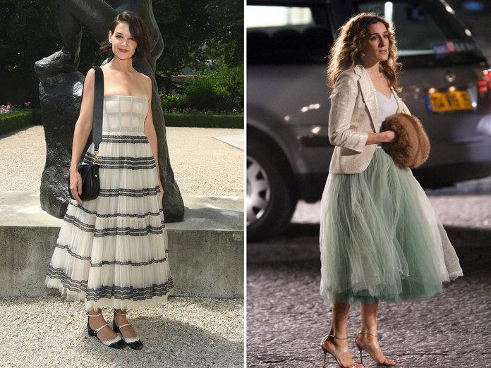 katie holmes carrie bradshaw volumen PASCAL LE SEGRETAIN GETTY IMAGES FOR CHRISTIAN DIOR COUTURE, JAMES DEVANEY WIREIMAGE
