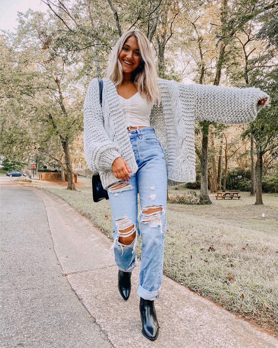 Vaqueros Rotos Invierno 2020 Como Llevar Los Pantalones De Moda Sin Frio