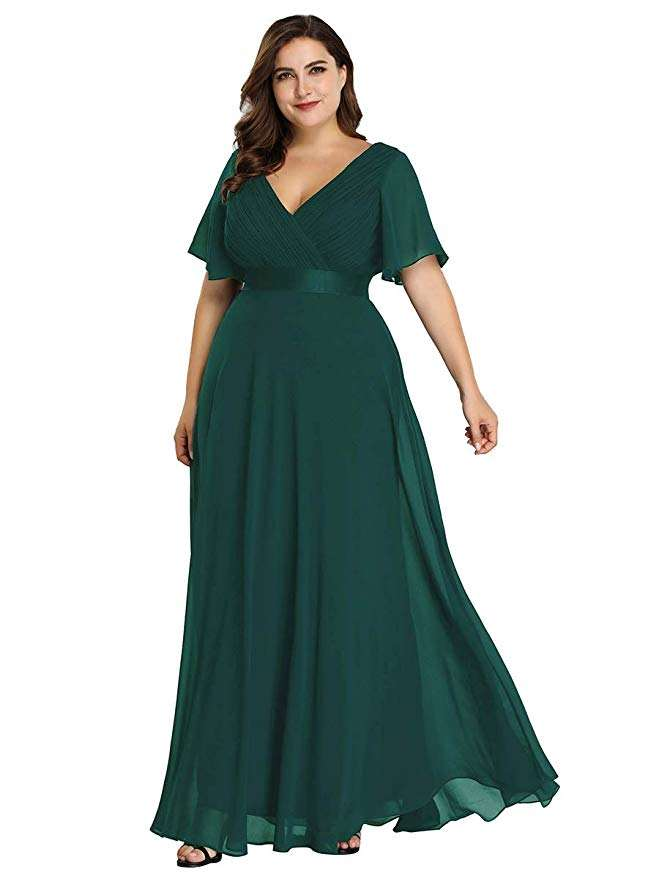 Vestido largo color verde oliva, Ever Pretty