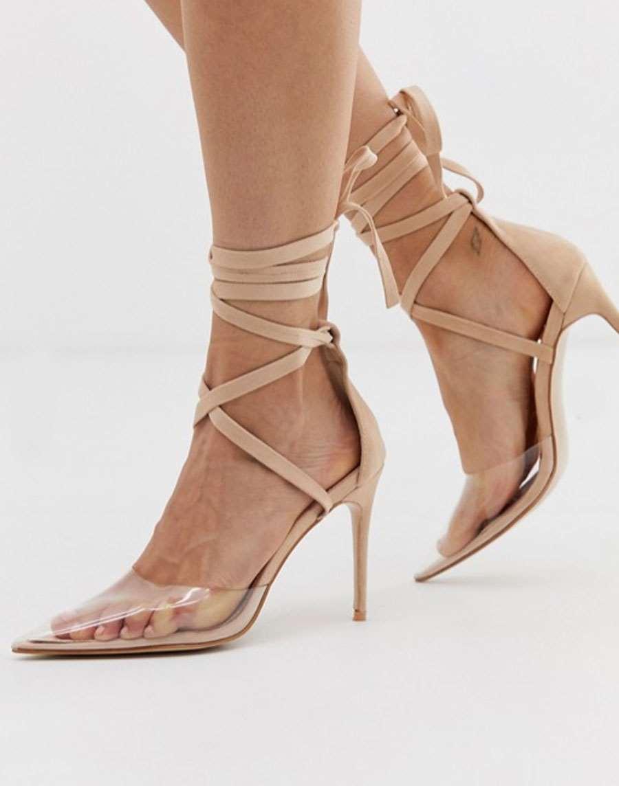 sandalias de dos piezas con lazo atado ruby | boohoo
